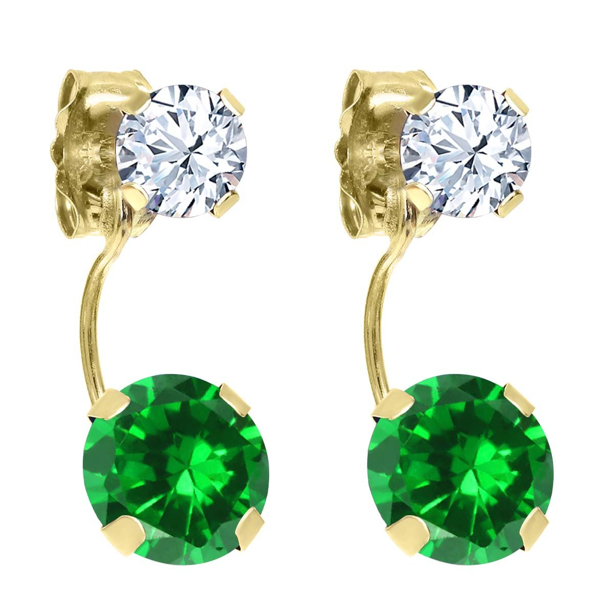 3.66 Ct Round Green Simulated Emerald White Topaz 14K Yellow Gold Earrings