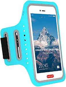 Waterproof Arm Phone Holder for Running Armband Compatible with iPhone Xs MAX,8 Plus,7 Plus,6 6S Plus,XR,XS,X, Fingerprint Touch ID,Key&Card Pouch,Adjustable Band for Excercise,Jogging(5.0-6.0 inch)