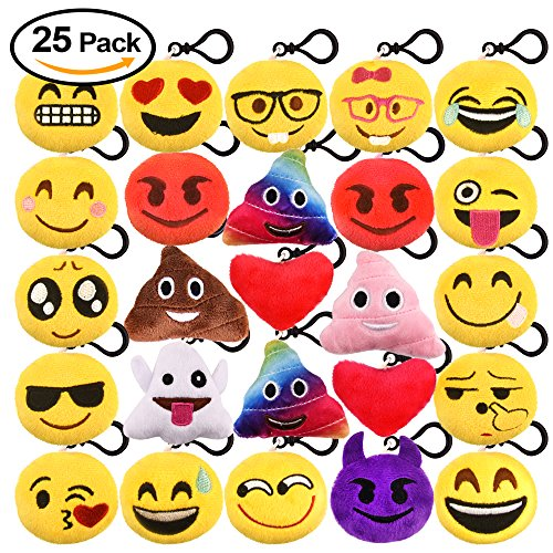 Kuuqa 25 Pack Emoji-Pop Plush Pillow Keychain Emoji Party