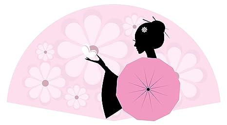 Pegatina de pared Salón Asia Hermosa geisha con abanico grande en rosa Asia Deco para encolar