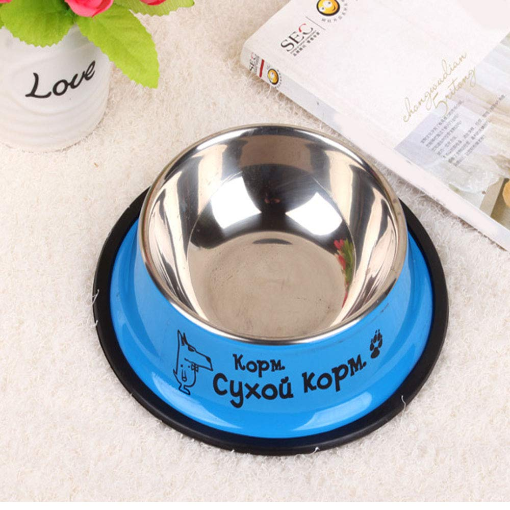 bluee 64.51.8 bluee 64.51.8 XIAN Dog bowlPet Grass Green Stainless Steel Pointless Food Bowl Choose Your Size, 4 Oz to 72 Oz Easy to Clean Non-Skid Bowls for Dogs (color   bluee, Size   6  4.5  1.8)