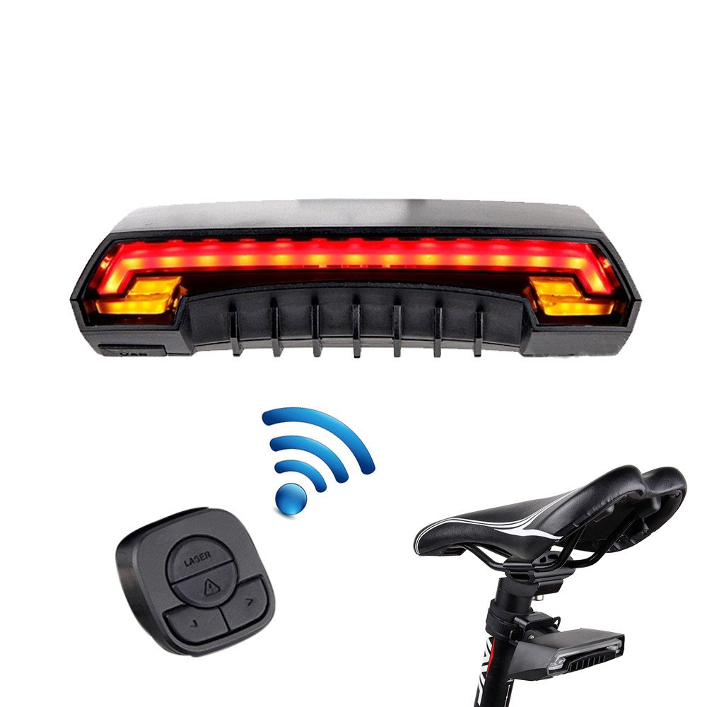 REARAND Smart Bicycle Light Bike Rear Remote Wireless Ultra Bright Light Turn Signal LED Tail Light Laser Beam USB Rechargeable Waterproof Bike Safety Accessories