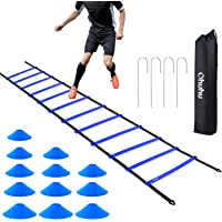 Ohuhu Speed Agility Ladder Training Set - 12 Rung 20ft Agility Ladder and 12 Field Cones,4 Steel Stakes & Carrying Bag…