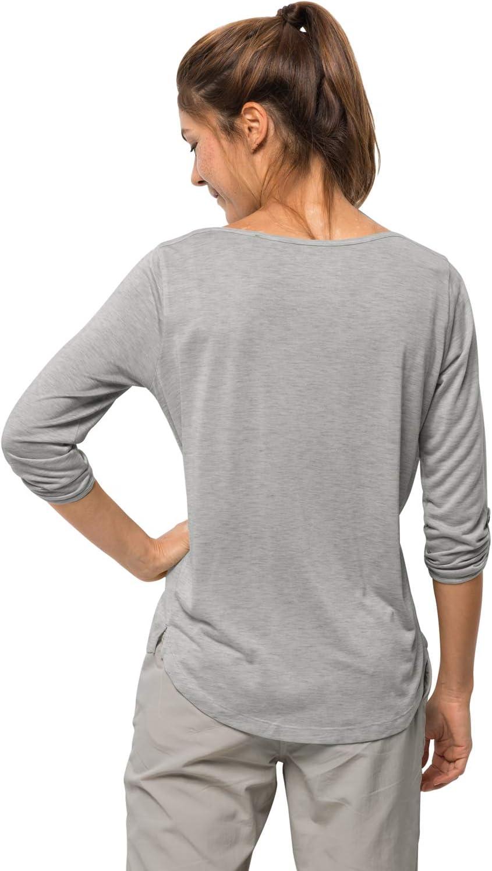 Jack Wolfskin - Coral Coast 3/4 T-Shirt, Maglietta a 3/4 Donna light grey