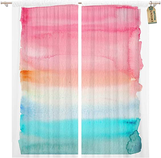 Golee Window Curtain Orange Pink and Teal Watercolor Rectangle Ombre Wet Blue Home Decor Pocket Drapes 2 Panels Curtain 104 x 96 inche
