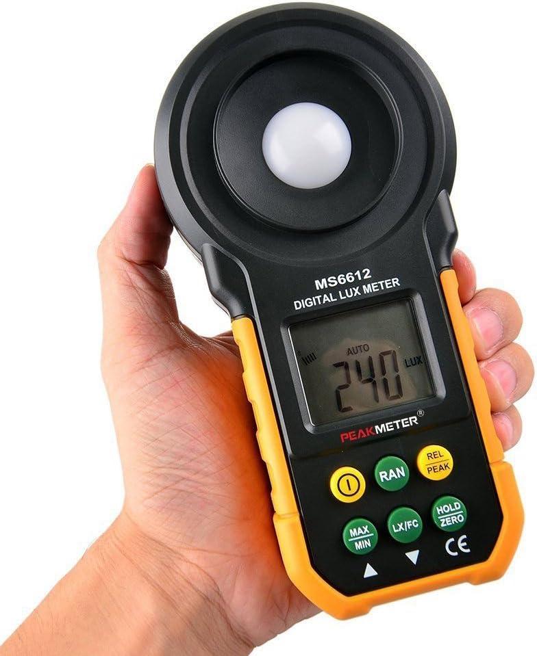 0.01Lux//0.01fc Lux/ómetro Data Hold Max//Min Protmex MS6612 medidor de luz 2000 counts 0-200000 Lux//0-20000 FC Medidor Lumenmeter Lux//FC metros luminometer con rango de Manual autom/ático