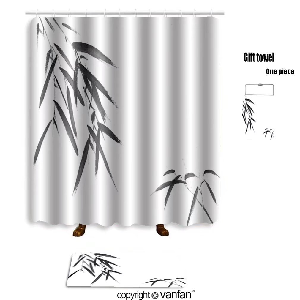 vanfan bath sets with Polyester rugs and shower curtain classical china bamboo 204598588 shower curtains sets bathroom 69 x 90 inches&31.5 x 19.7 inches(Free 1 towel and 12 hooks)