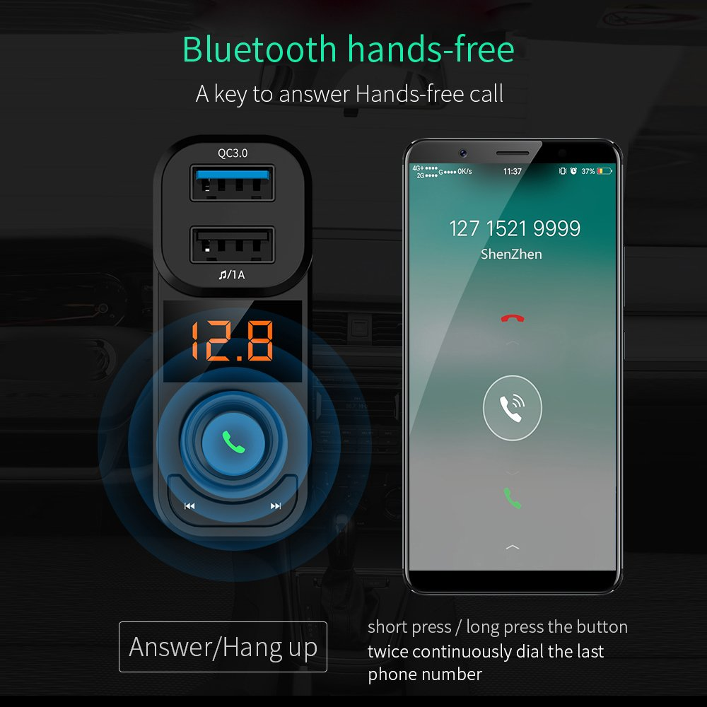 Bluetooth FM Transmitter, Bluetooth Car Adapter, FM Wireless Radio Transmitter for Car, Quick Charge 3.0 Dual USB Charger TF Card Support U disk MP3/WMA Music Play/Hands-free Calling by Ayyie (Image #5)