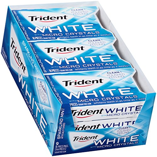 Trident White Sugar Free Gum (Sparkling Mint with Micro Crystals, 16 Piece, 9 Pack)