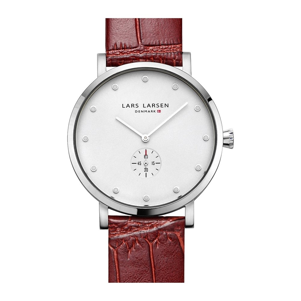 Lars Larsen Tristan Men's Quartz Watch with White Dial Analogue Display and Brown Leather Strap 132SWCL