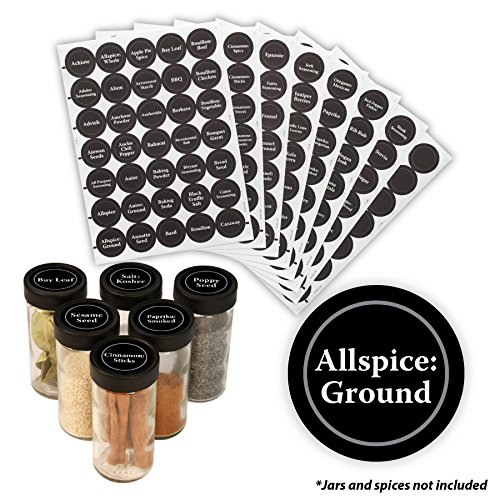 AllSpice 315 Preprinted Water Resistant Round Spice Jar Labels Set 1.5- Fits Penzeys and AllSpice Jars- 4 styles to choose from (Traditional Black)