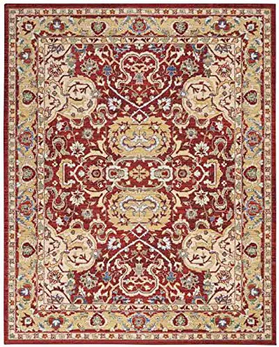 - Nourison MST04 Majestic Red and Gold Persian Area Rug 5'6