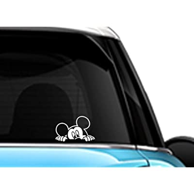 Mickey Mouse Peeking White SCI-FI/Comics/Games Automotive Decal/Bumper Sticker: Automotive