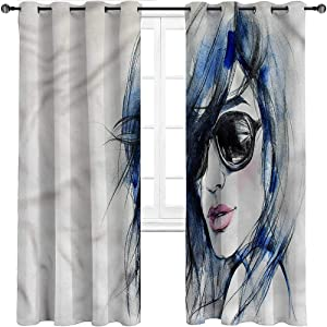 Patio Door Curtains, Urban Indoor/Outdoor UV Protectant Grommet Drapes, Watercolor Woman Image Set of 2 Panels, 84 Width x 72 Length
