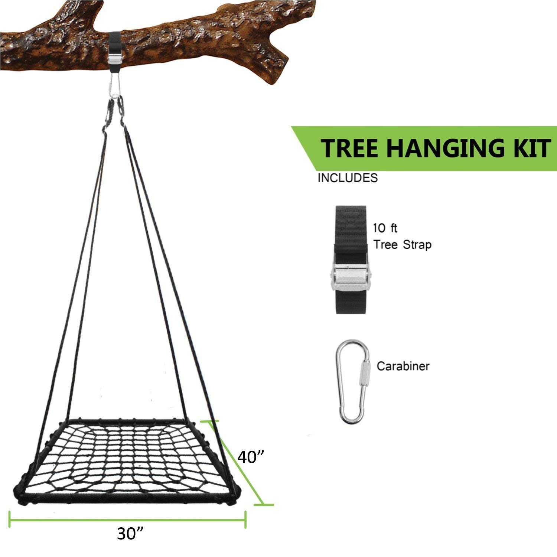 JUMBO 60 x 32 Black Rectangular Platform Swing and Spin Seat Set with Tree Swing Hanging Kit KHOMO GEAR
