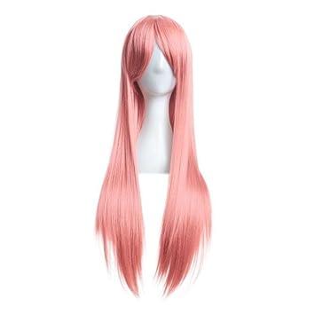 Culater Sintético Pelucas cabello natural mujer llena larga peluca recta cosplay de pelo sintético 80cm (