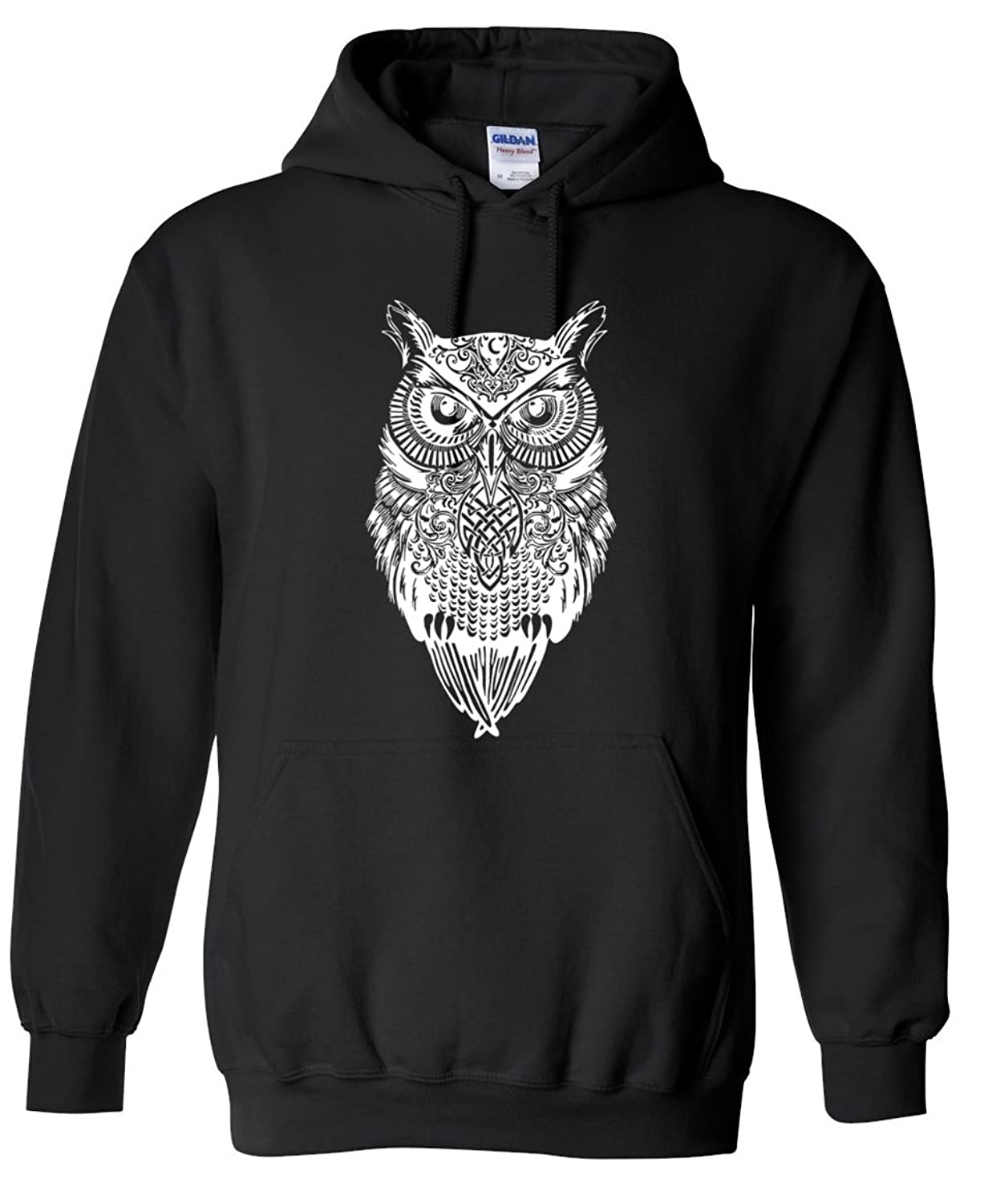 Adult Casual Fashion Graphic Owl White Hoodie Hooded Sweater