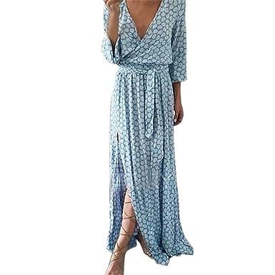 06005988735de ❤️Amlaiworld Femme Robe Chic Longue Col V à Fleur Manches Courtes en Coton Robe  Maxi