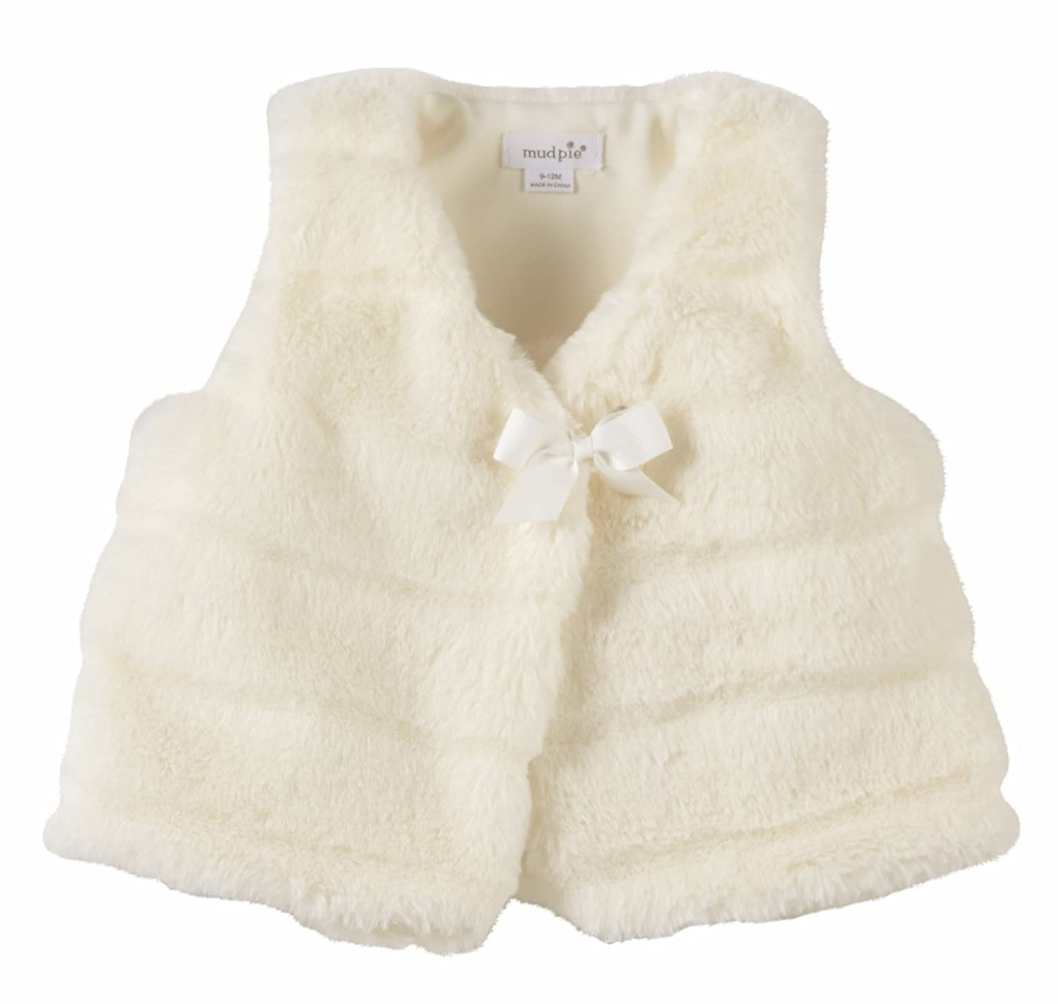 Mud Pie Infant Ivory Fur Outerwear Vest with Bow