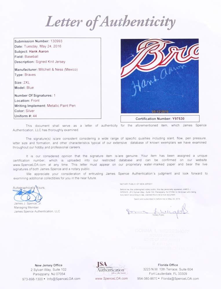 e54516cd4 Amazon.com: Hank Aaron Signed 1974 Milwaukee Atlanta Braves Throwback Jersey  JSA LOA: Sports Collectibles