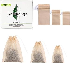 400 Pack Disposable Drawstring Tea Filter Bags Safe & Natural Unbleached Paper Tea Infuser Drawstring Empty Bag for Loose Leaf Tea (Natural Color 3 Size)