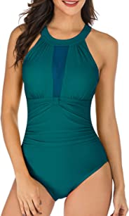 TcIFE Women's One Piece Swimsuits Tummy Control Swimwear Flattering High Waisted Monokini Bathing Suits for Women