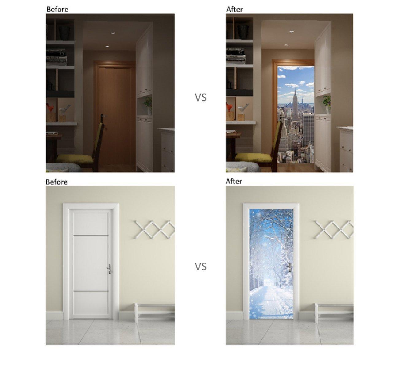 Pitture e trattamenti per pareti Adesivi Porta 3D Cavalli ...