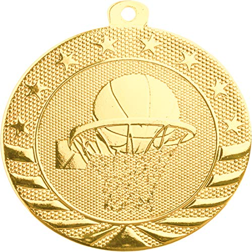 Express Medals (10 PK) Gold Color 1st Place Basketball Medal Award Trophy with Neck Ribbon