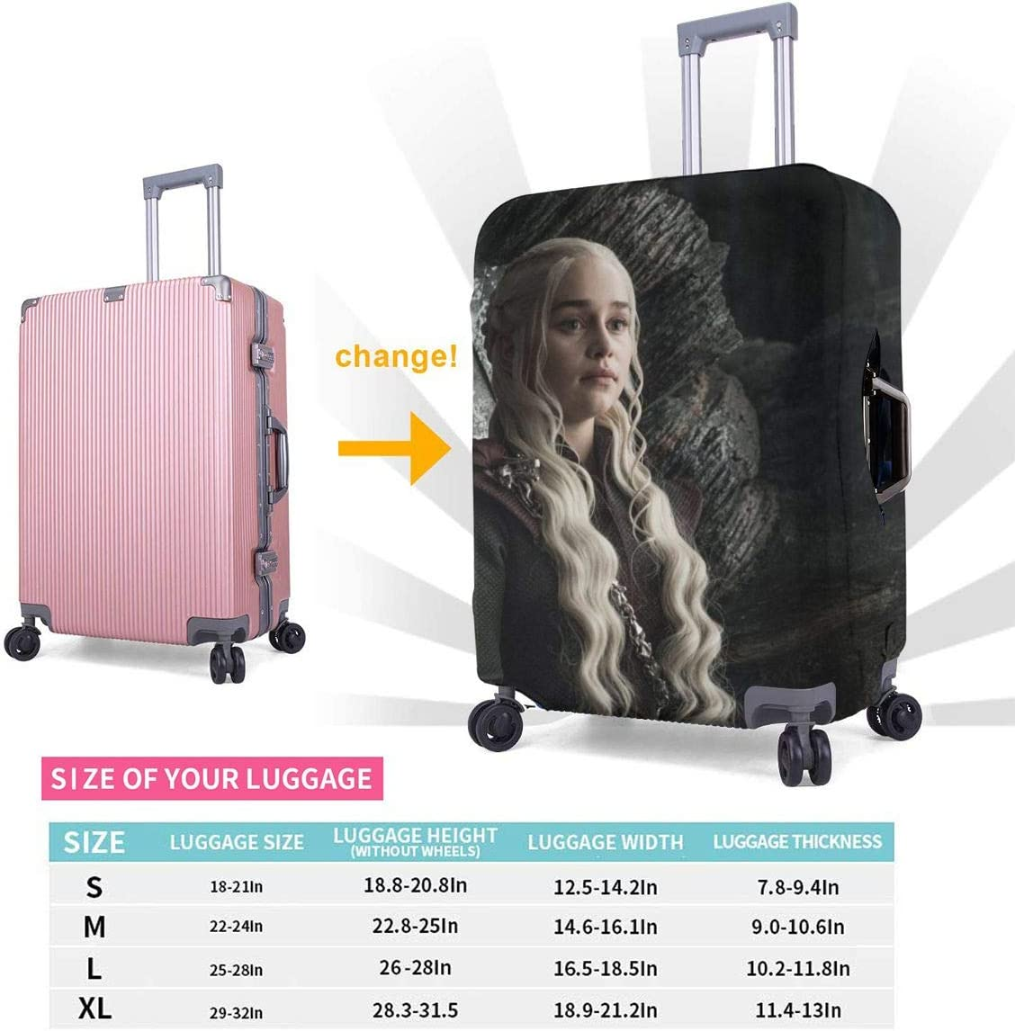 Game Of Thrones Suitcase Protector Travel Luggage Cover Fit