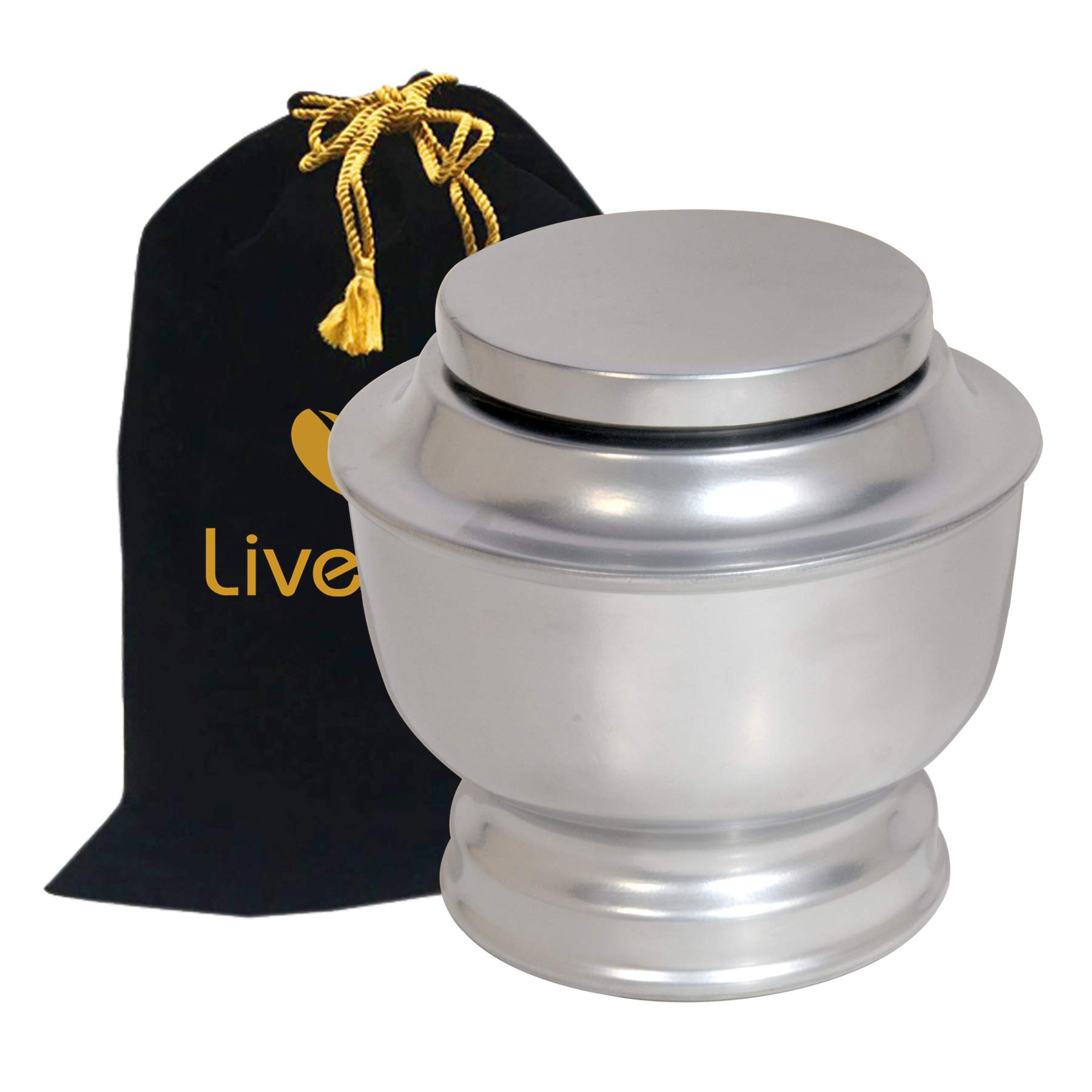 Liveurns Classic Majesty Funeral Cremation Urn - Adult Urn - Solid Metal Funeral Urn - Handcrafted Adult Funeral Urn for Ashes -Affordable Urn Deal (Silver)