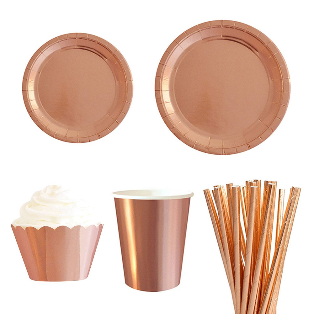Greencolorful 8Pcs 7Inch Disposable Paper Plates Party, Round Rose Gold Paper Bowls for Birthday Parties, Wedding and Family Gatherings