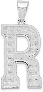 925 Sterling Silver Initial Monogram Name Letter R Pendant Charm Necklace Fine Jewellery Gifts For Women For Her