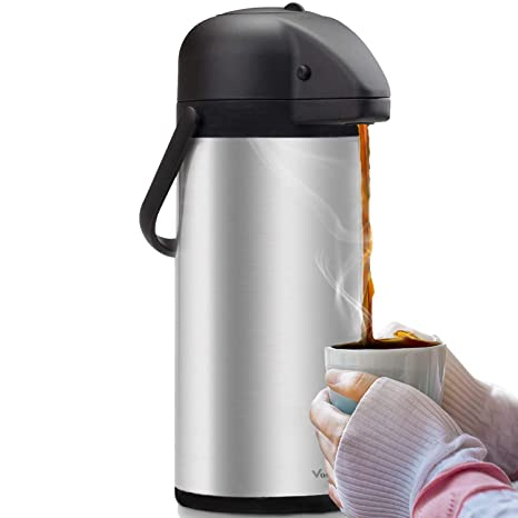 Airpot Coffee Carafe - Thermal Beverage Dispenser (102 oz ) By Vondior   Insulated Stainless Steel Coffee Thermos Urn For Hot/Cold Water, Pump  Action