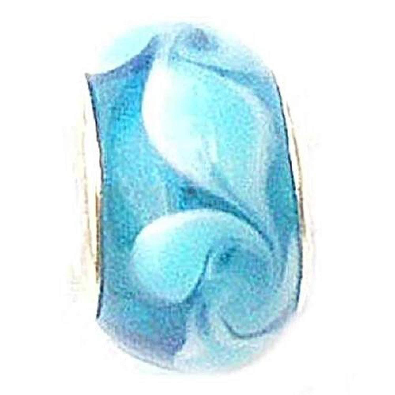TOC BEADZ Blue Swirl 9mm Glass Slide-on Bead