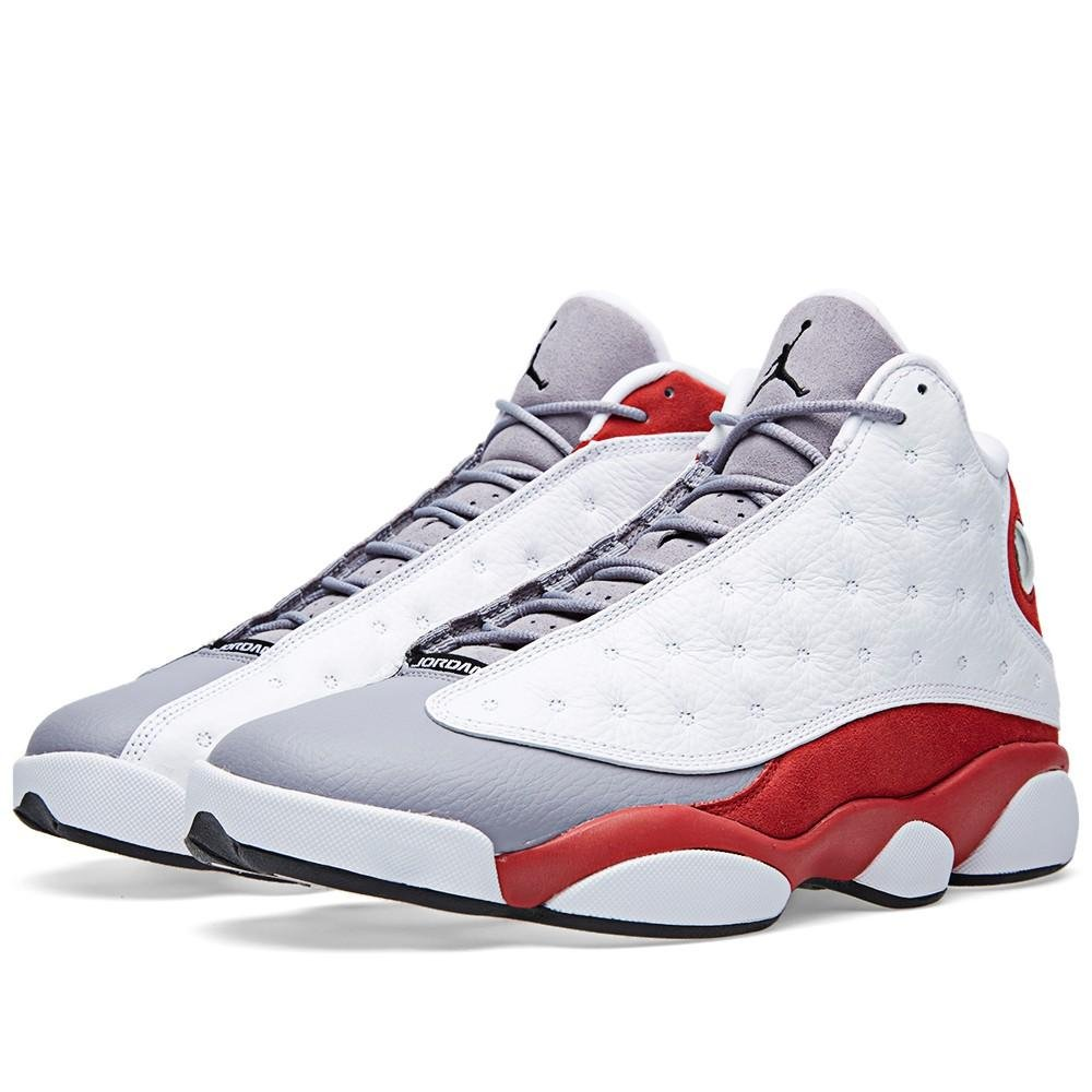 hot sale online 4628d 9263e Amazon.com   NIKE Jordan Mens AIR JORDAN 13 RETRO White True Red Cement Grey  Black 414571-126 9   Basketball