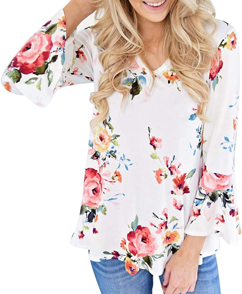 WOCACHI 2020 Sale Tops for Womens, Plus Size Floral Blouses T-Shirt Long Sleeve Flowy Chiffon Spring Summer Shirts