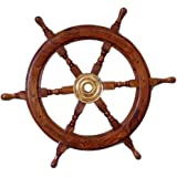 """Asher's Collection Deluxe Class Wood and Brass Decorative Ship Wheel 24"""""""