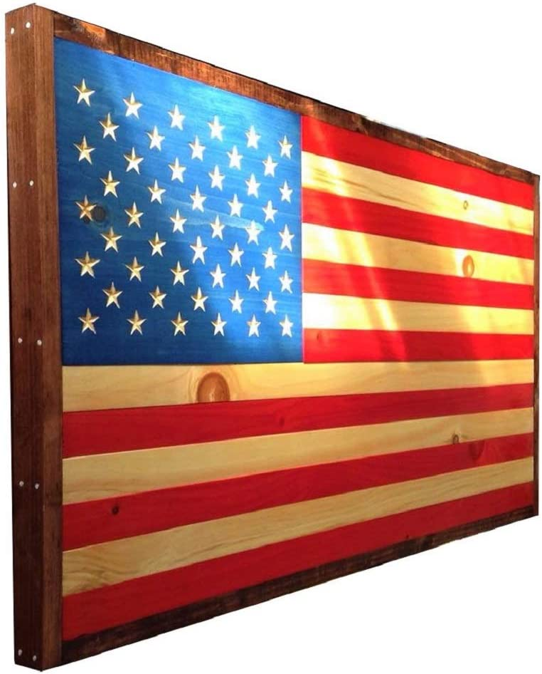 """Rustic Wooden American flag Americana Patriotic with bullets 13/"""" x 23/"""""""