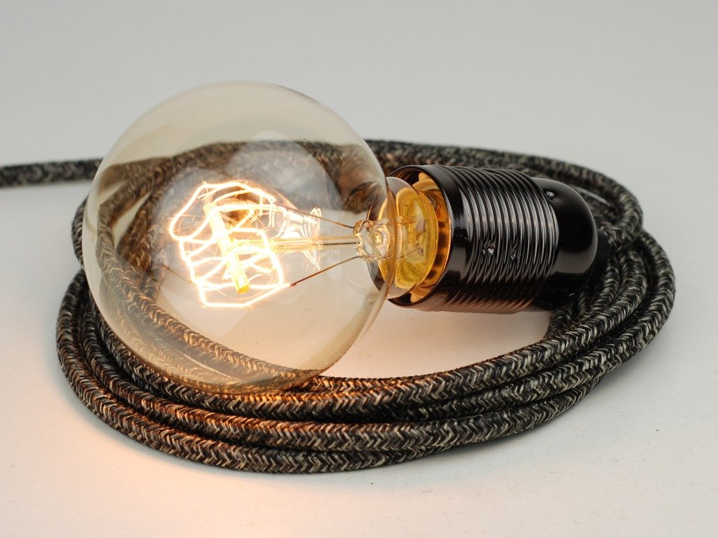 4m Old Wool Grey Fabric Cable Plug In Pendant Light E27 Nickel Wiring A To Fixture Fitting Globe Edison Bulb Lighting