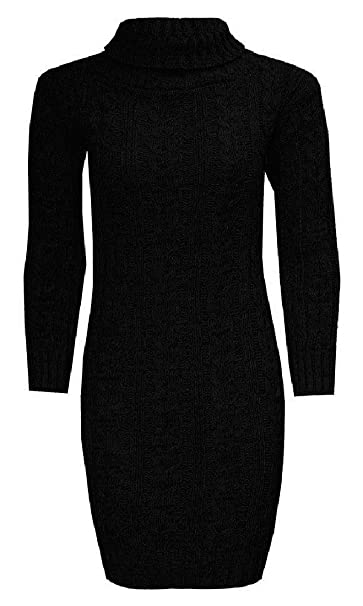 b1d5b9d76ce8 ZET New Ladies Womens Long Sleeve Polo Neck Cable Knitted Jumper Dress Top  Plus Size UK 8-22  Amazon.co.uk  Clothing