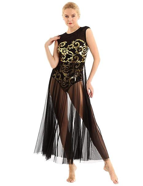 inhzoy Vestido de Danza Ballet Lentejuelas para Mujer Maillot Tutú ...