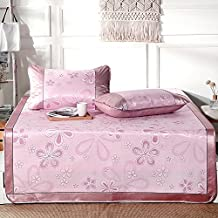 Summer sleeping mat Foldable Air-conditioned Mat Student Dormitory Smooth Mat Cool Mattress Ice Silk Mat 3-piece 0.9m 1m 1.2m 1.35m 1.5m (Color : Pink, Size : 1m (3.3 ft) bed)