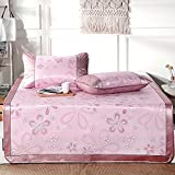 Summer sleeping mat Foldable Air-conditioned Mat Student Dormitory Smooth Mat Cool Mattress Ice Silk Mat 3-piece 0.9m 1m 1.2m 1.35m 1.5m (Color : Pink, Size : 1m (3.3 ft) bed)