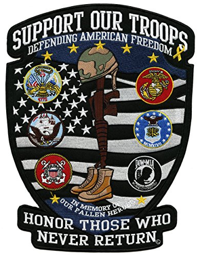 (Support Our Troops Patch | US Military Shield Patriotic Army Navy Marines Veteran Large Embroidered American Flag - by Nixon Thread Co. (12