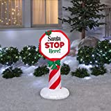 Easy to set-up Adorable Lighted Inflatable Outdoor Santa Stop Here Sign Christmas Outdoor Decoration