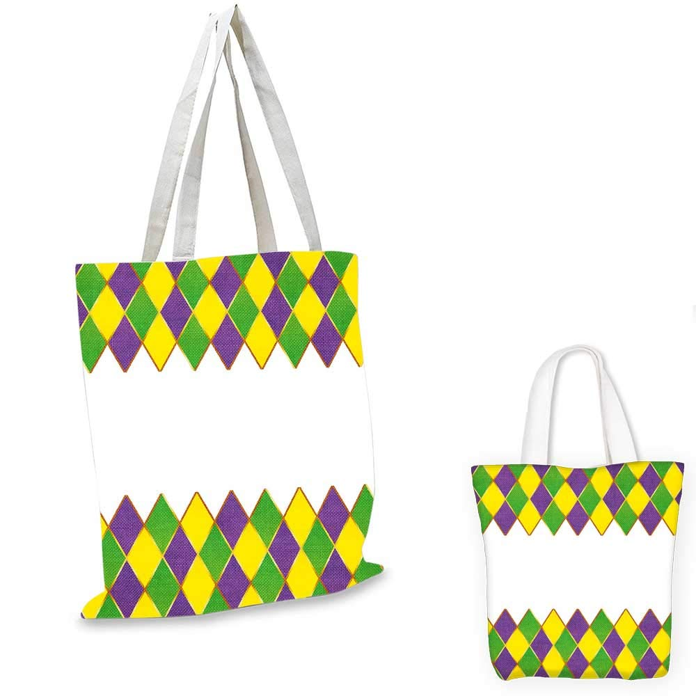 Mardi Gras canvas messenger bag Beads and Tassels Masquerade Theme Calligraphy Design Fun Print fruit shopping bag Purple Marigold Fern Green 14x16-11