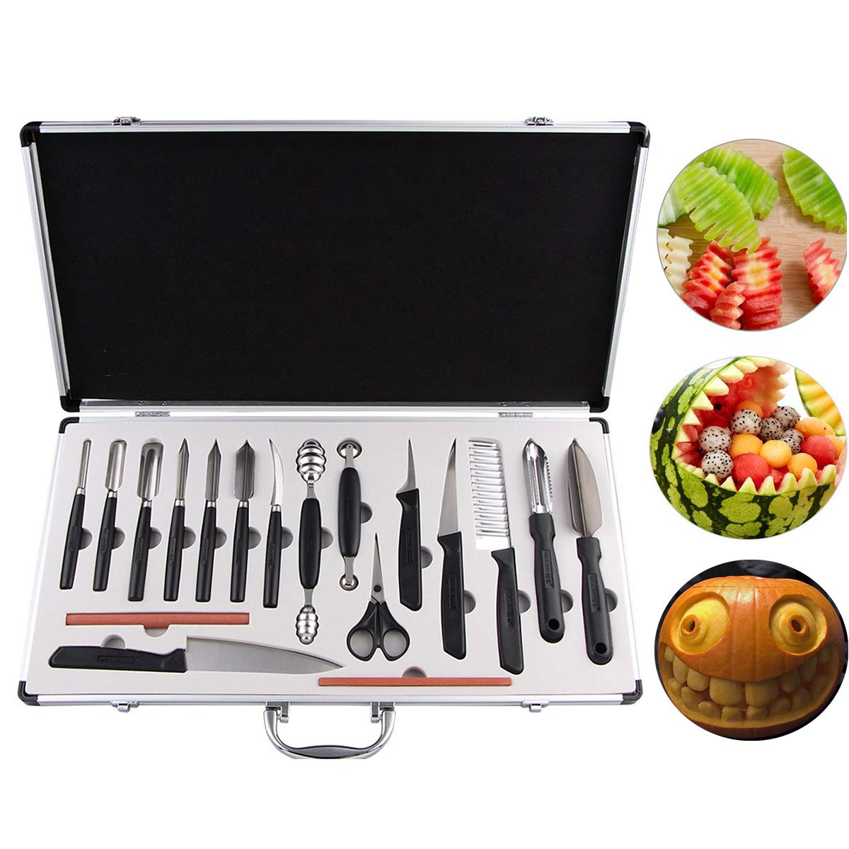 COVVY 18PCS Kitchen Vegetable Food Fruit Cake Carving Knife Set Culinary Carving Peeling Tool Kit/w Portable Carrying Case by COVVY
