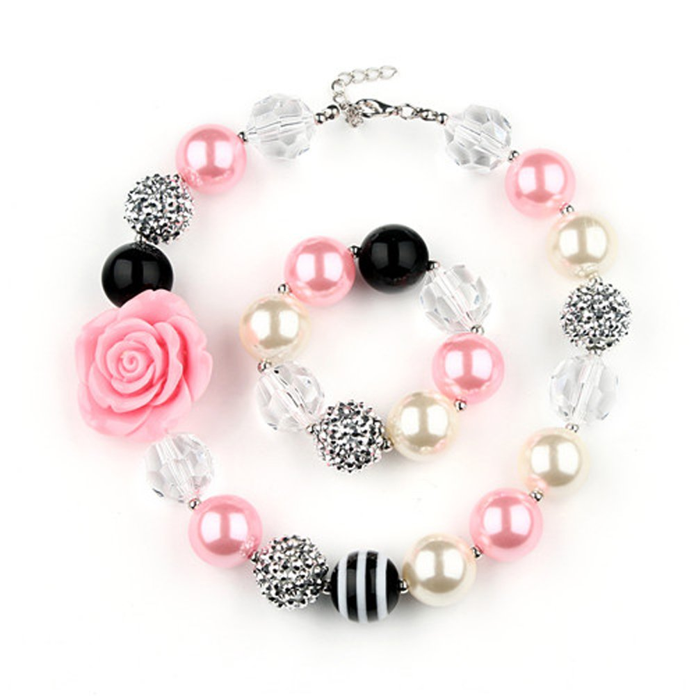 Bouren Fashion Girls Chunky Beads Bubblegum Necklace and Bracelet Set Pink Rabbit