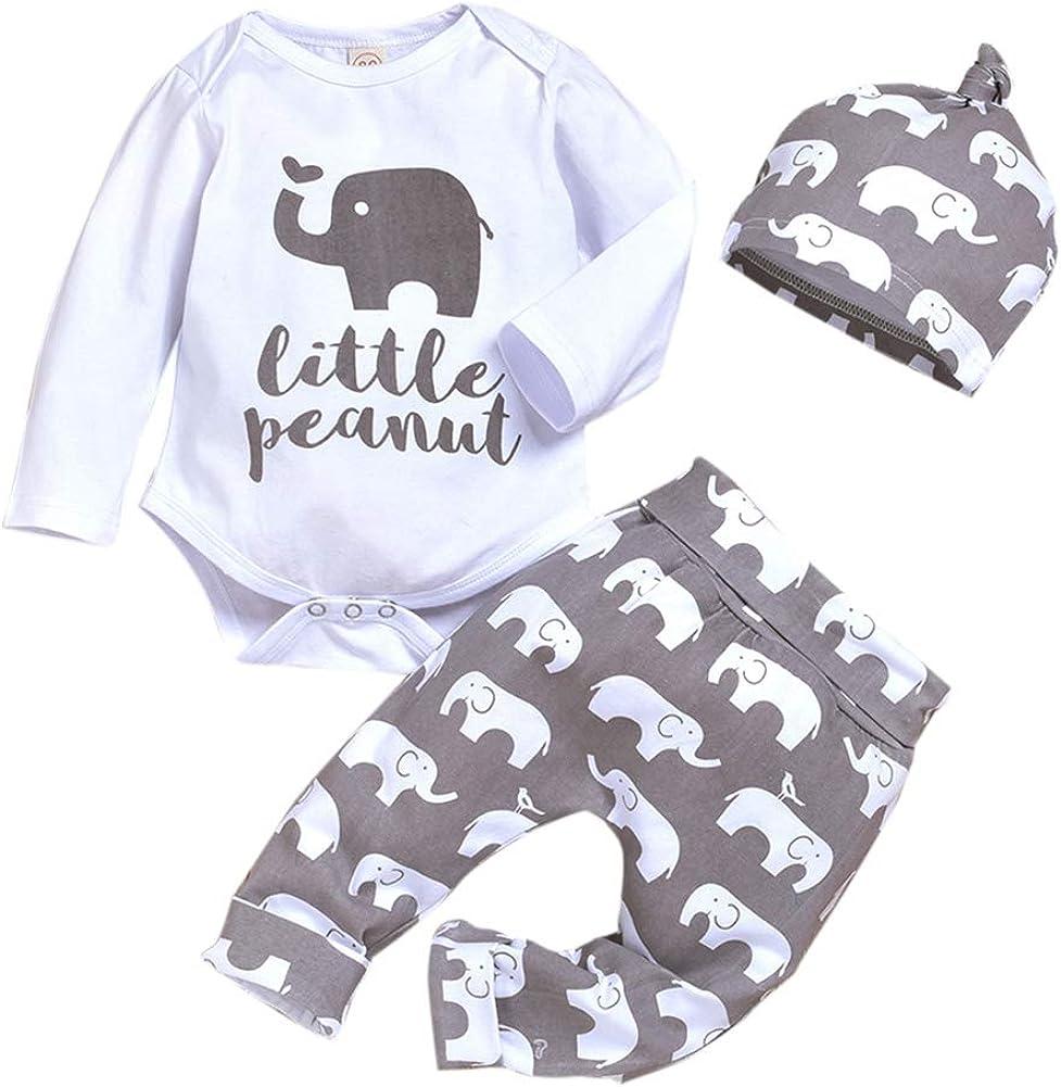 lang/ärmelig Overall einteiliges Set Elefanten-Druck Hose URMAGIC Strampelanzug f/ür Kleinkinder Fr/ühlingsbody M/ädchen Babys H/üte kleine Erdn/üsse