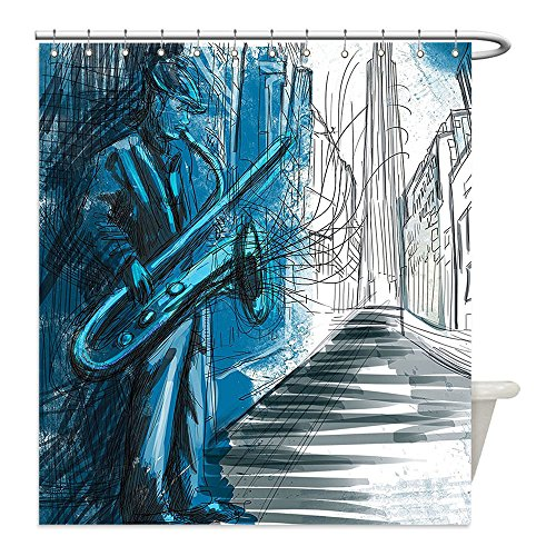 Diy Red Solo Cup Costume (Liguo88 Custom Waterproof Bathroom Shower Curtain Polyester Jazz Music Decor Collection Saxophone Man Playing Solo in the Street at Night Vibes Grunge Home Decor Dark Blue Black White Decorative bath)